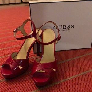 Red strappy heels- Guess